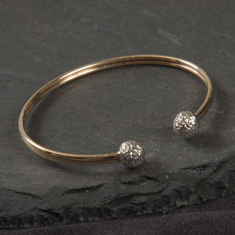 Shop 10ct Yellow & White Gold Bangle - Order Online Today For Next Day Delivery