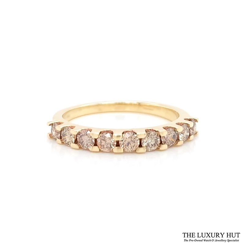 Shop 9ct Yellow Gold & 1.00ct Diamond Half Eternity Ring - Order Online Today For Next Day Delivery