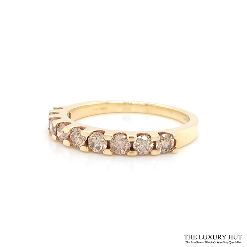 Shop 9ct Yellow Gold & 1.00ct Diamond Half Eternity Ring - Order Online Today For Next Day