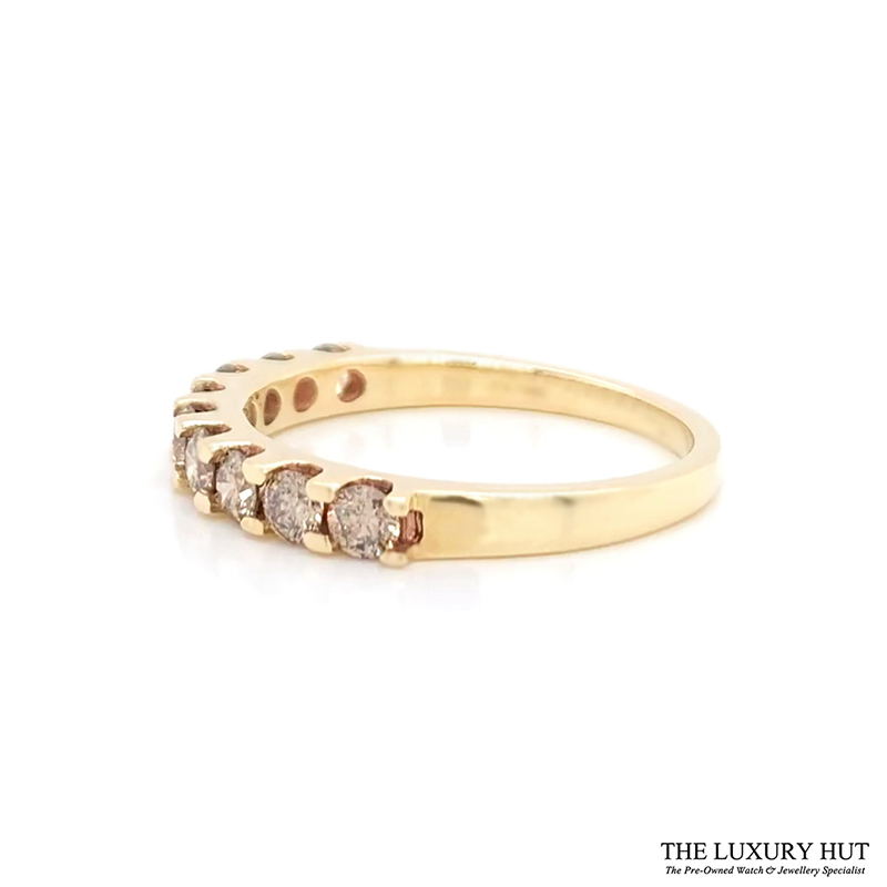 Shop 9ct Yellow Gold & 1.00ct Diamond Half Eternity Ring - Order Online