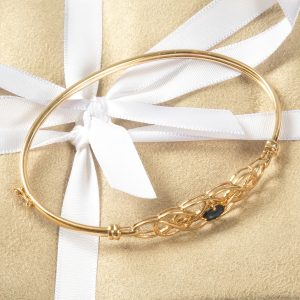 Shop 9ct Yellow Gold Sapphire Set Bangle - Order Online Today For Next Day Delivery – Sell Your Scrap Gold To Us At The Luxury Hut London