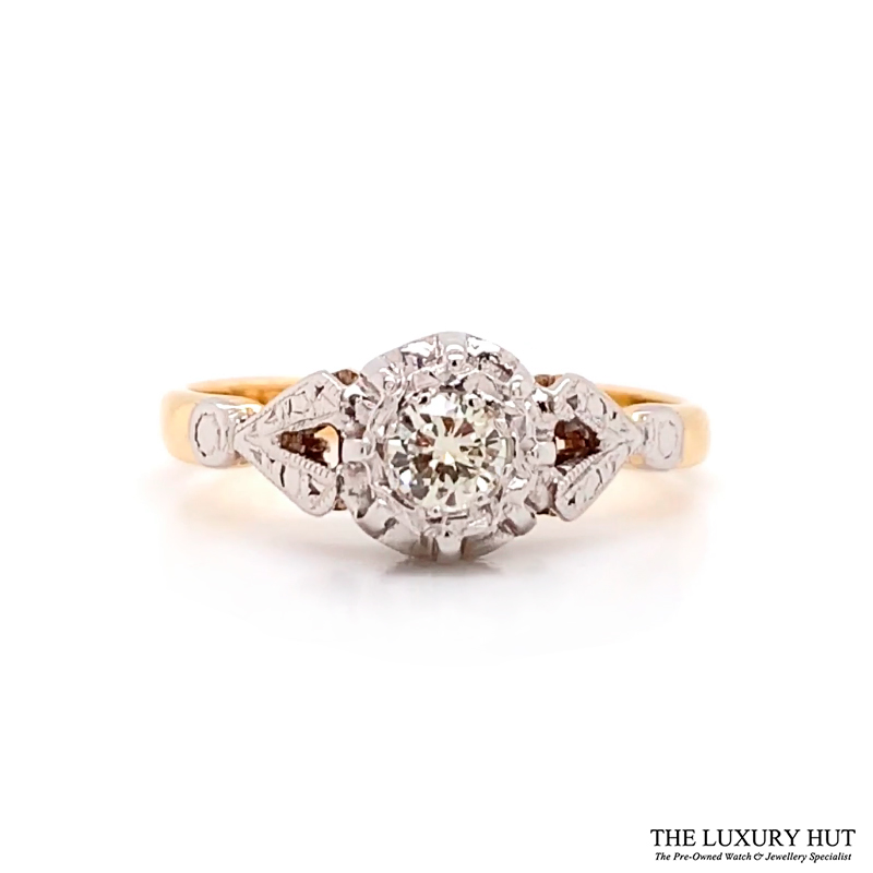Shop Platinum & 18ct Yellow Gold 0.18ct Diamond Ring - Order Online Today For Next Day Delivery