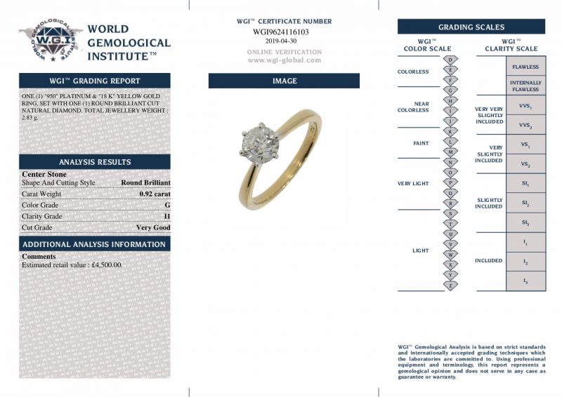 18ct White Gold 0.92ct Diamond Solitaire Engagement Ring Order Online Today For Next Day Delivery