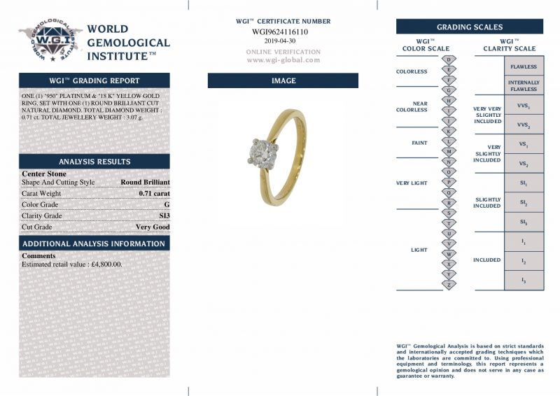 Platinum & 18ct Yellow Gold 0.71ct Diamond Engagement Ring Order Online Today For Next Day Delivery