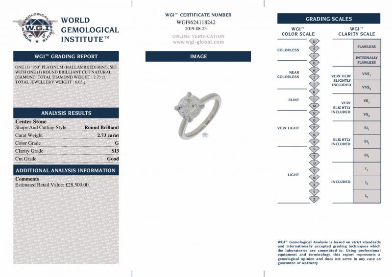 Platinum 1.69ct Princess Cut Diamond Solitaire Engagement Ring Order Online Today For Next Day Delivery