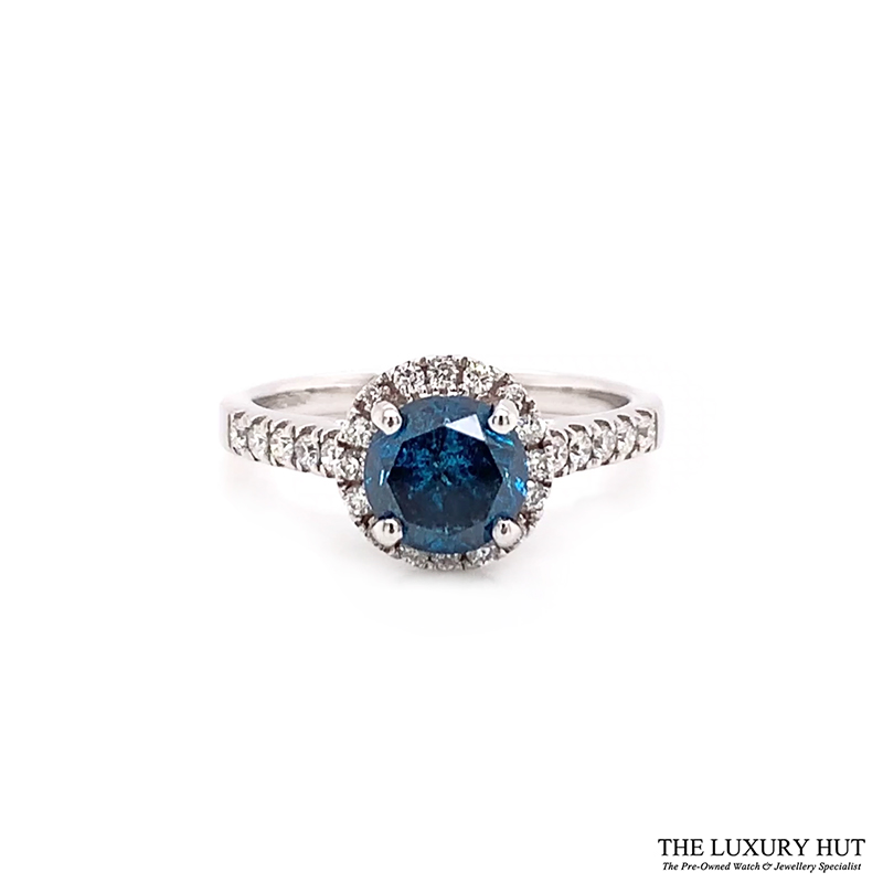 18ct White Gold 1.23ct Blue Diamond Engagement Ring Order Online Today For Next Day Delivery - Sell Your Diamond Ring To The Luxury Hut London