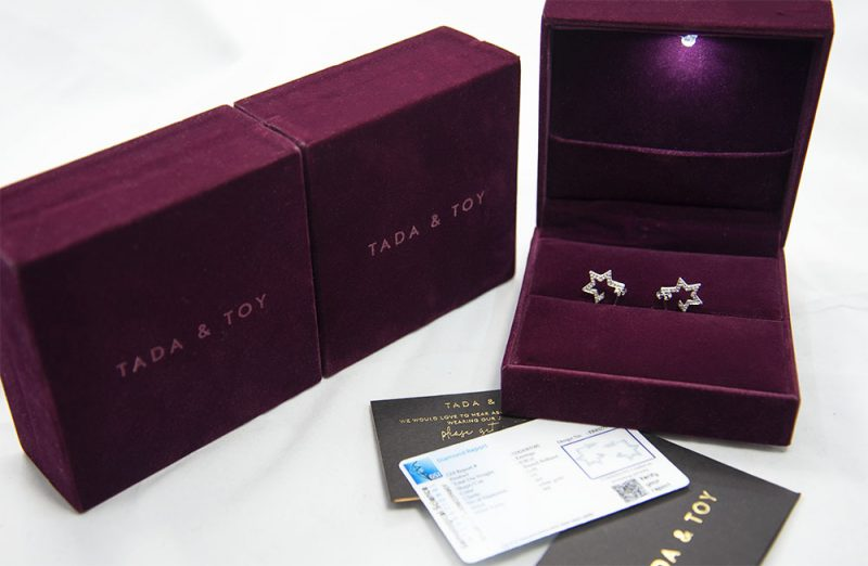 18ct White Gold Tada & Toy Design Earrings - Order Online Today For Next Day Delivery