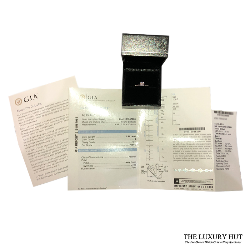 18ct White Gold 0.51ct Diamond Solitaire Engagement Ring Order