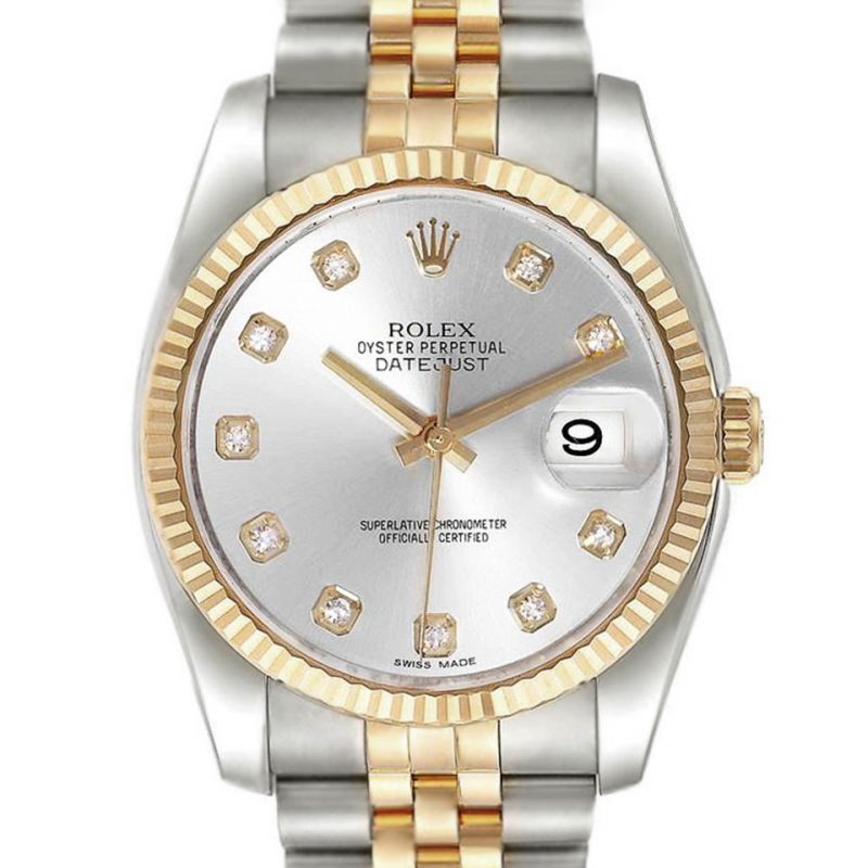 ROLEX DATEJUST SILVER DIAMOND DIAL REF: 116233 Order Online Today