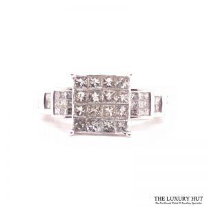 14ct White Gold & 2.90ct Diamond Certified Cluster Ring - Order Online Today For Next Day Delivery