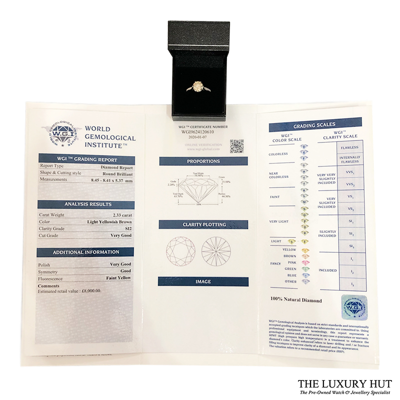 18ct White Gold & 2.5ct Diamond Solitaire Engagement Ring
