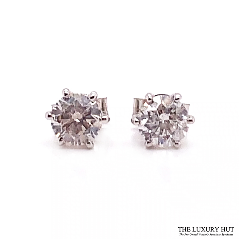 18ct White Gold 1.00ct Diamond Certified Earrings - Order Online Today For Next Day Delivery