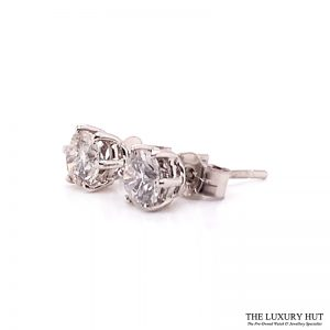 18ct White Gold 1.00ct Diamond Certified Earrings - Order Online Today For Next Day