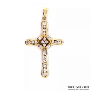 14ct Yellow Gold 1.00ct Diamond Certified Cross Pendant - Order Online Today For Next Day Delivery