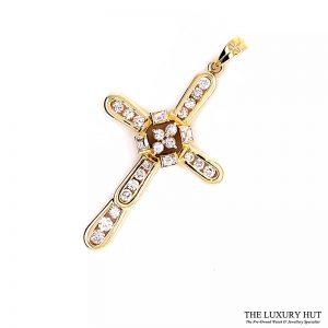 14ct Yellow Gold 1.00ct Diamond Certified Cross Pendant - Order Online Today For Next Day
