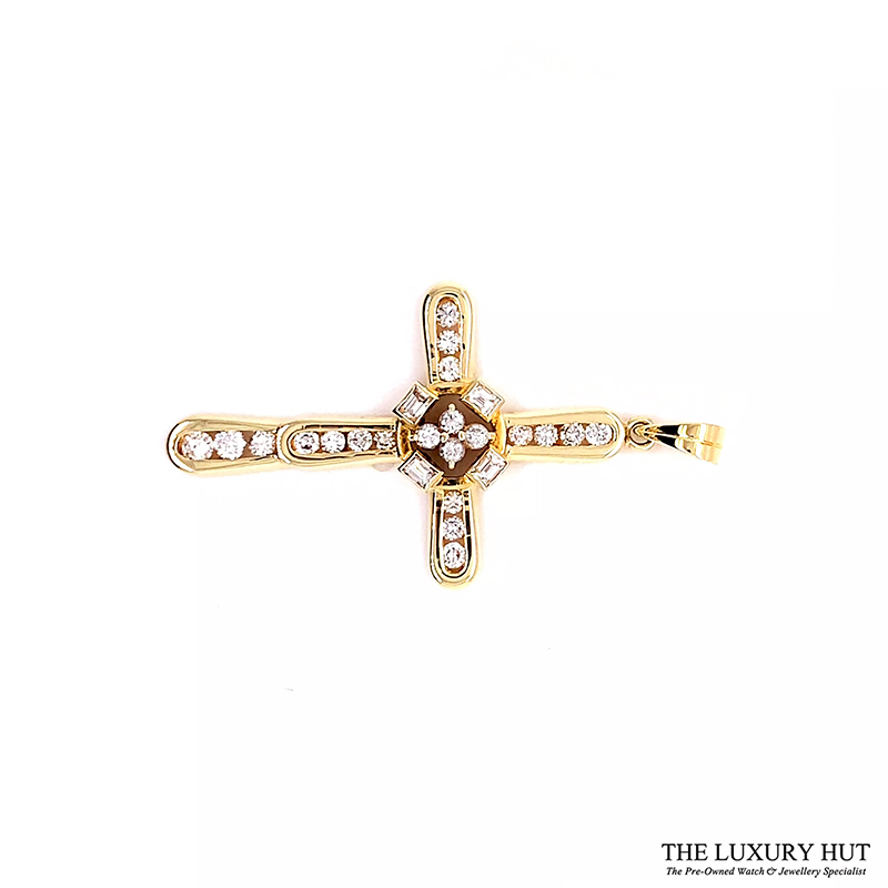 14ct Yellow Gold 1.00ct Diamond Certified Cross Pendant - Order Online Today