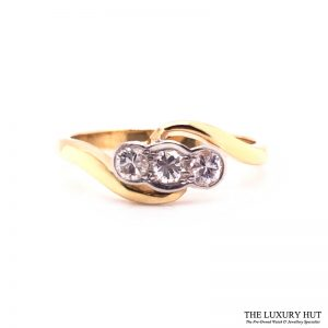 18ct White & Yellow Gold 0.45ct Diamond Trilogy Ring - Order Online Today For Next Day Delivery