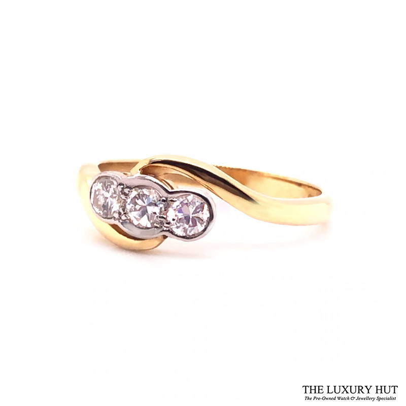 18ct White & Yellow Gold 0.45ct Diamond Trilogy Ring - Order Online Today For Next Day