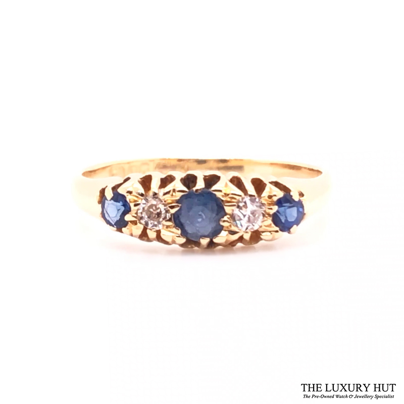 Antique 18ct Yellow Gold Sapphire & Diamond Ring - Order Online Today For Next Day Delivery