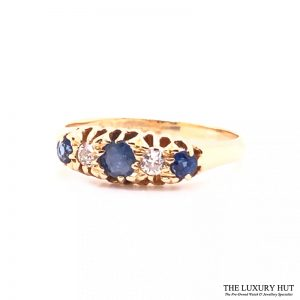 Antique 18ct Yellow Gold Sapphire & Diamond Ring - Order Online Today For Next Day
