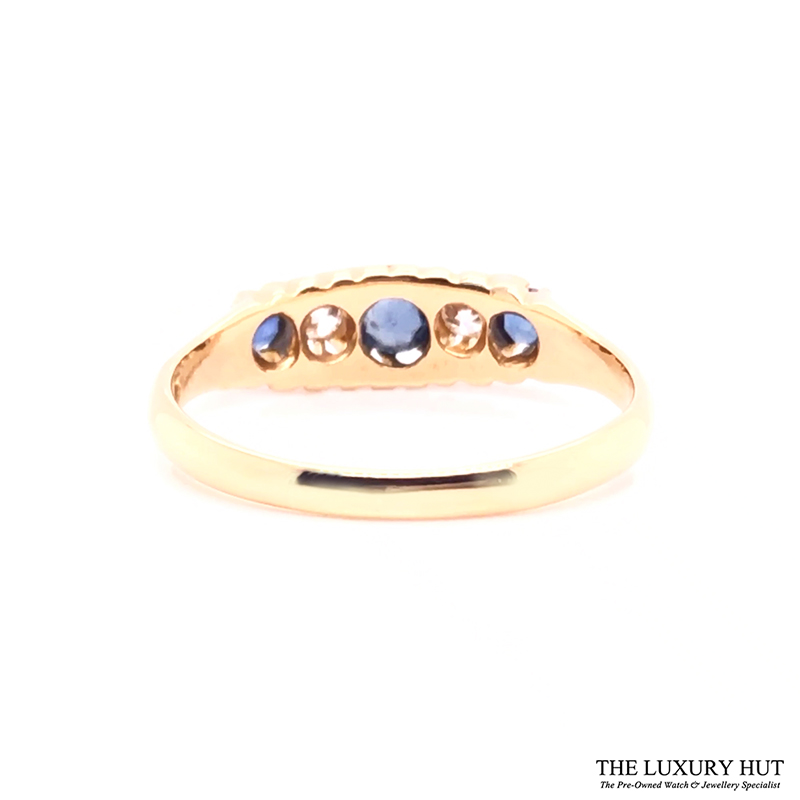 Antique 18ct Yellow Gold Sapphire & Diamond Ring - Order Online