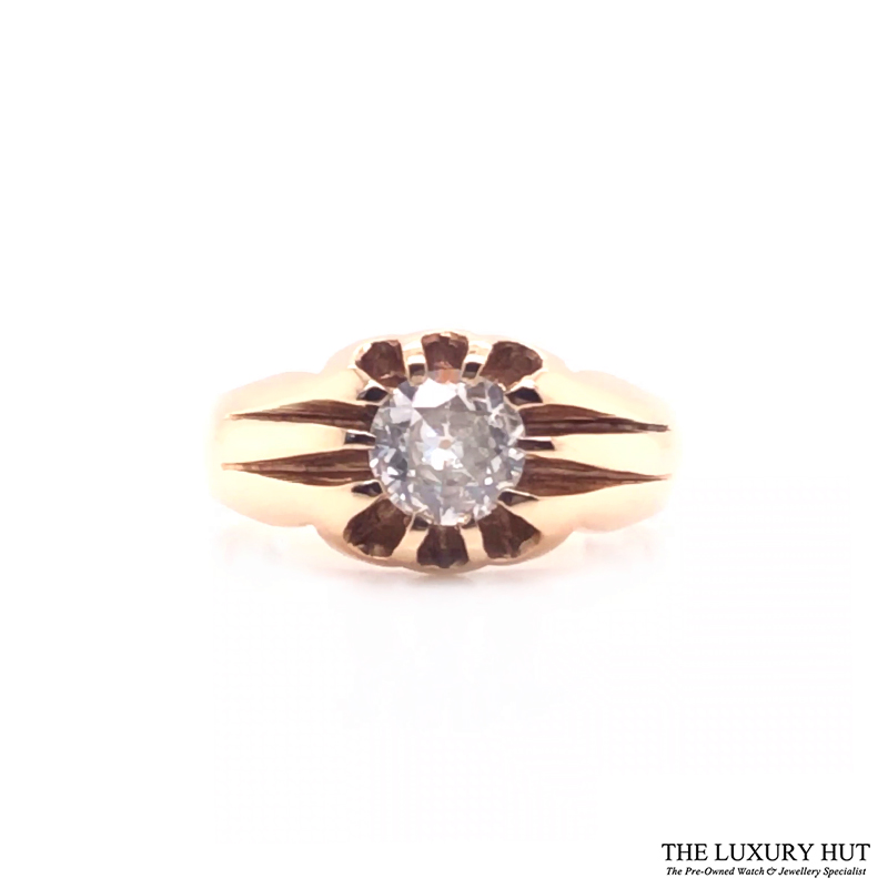 9ct Yellow Gold Pinky Diamond Certified Vintage Ring - Order Online Today For Next Day Delivery