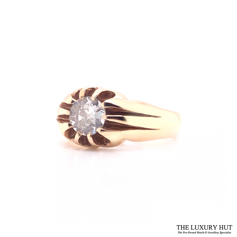 9ct Yellow Gold Pinky Diamond Certified Vintage Ring - Order Online Today For Next Day