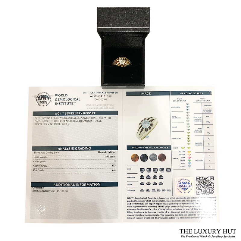 9ct Yellow Gold Pinky Diamond Certified Vintage Ring - Order