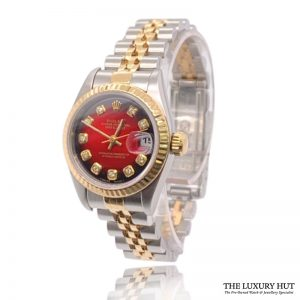 Rolex Lady Datejust Bi-Metal 26mm Red Diamond Dial 69173 - Order Online Today For Next Day