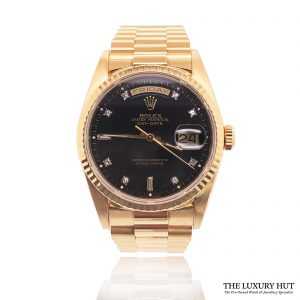 Rolex President Day-Date 36mm Black Diamond Dial 18238 - Order Online Today For Next Day Delivery