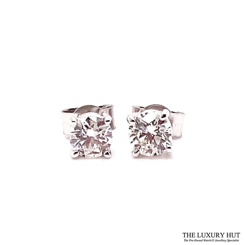 18ct White Gold 0.80ct Diamond WGI Certified Earrings - Order Online Today For Next Day Delivery