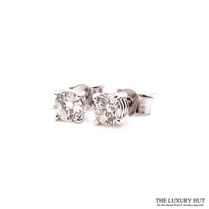 18ct White Gold 0.80ct Diamond WGI Certified Earrings - Order Online Today For Next Day
