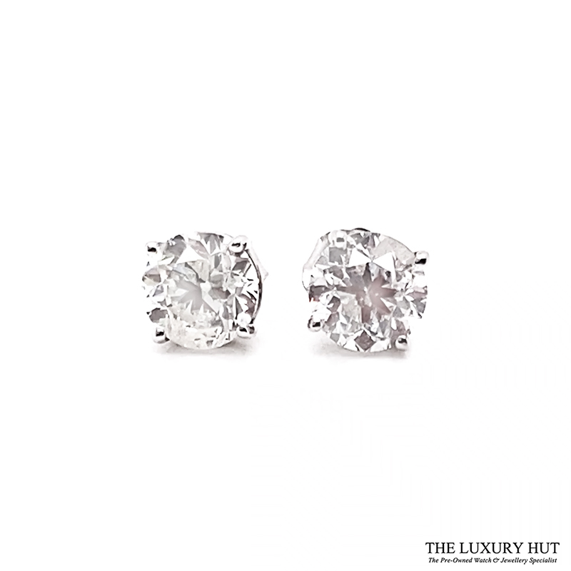 14ct White Gold 2.00ct Diamond Certified Earrings - Unworn - Order Online Today For Next Day Delivery