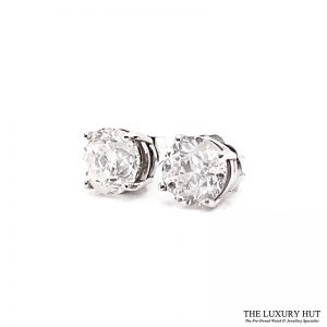 14ct White Gold 2.00ct Diamond Certified Earrings - Unworn - Order Online Today For Next Day