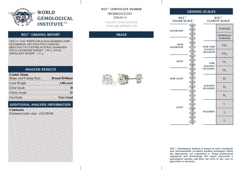 14ct White Gold 2.00ct Diamond Certified Earrings - Unworn - Order Online Today Delivery