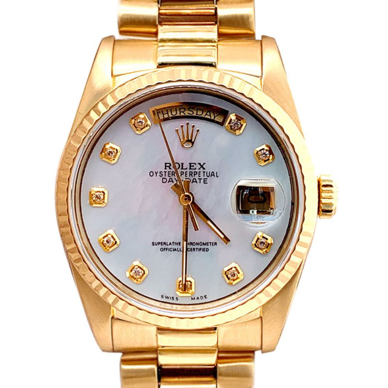 Rolex 18ct Gold President Day-Date White Diamond Dial Watch -Order Online