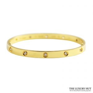 Cartier 18ct Yellow Gold 10 Diamonds Love Bracelet Size 21 - Order Online Today For Next Day Delivery