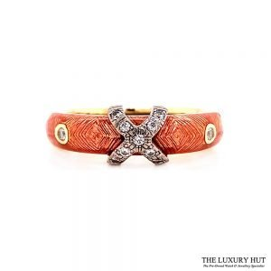 Faberge 18ct Gold 0.12ct Diamond & Enamel Ring - Order Online Today For Next Day Delivery