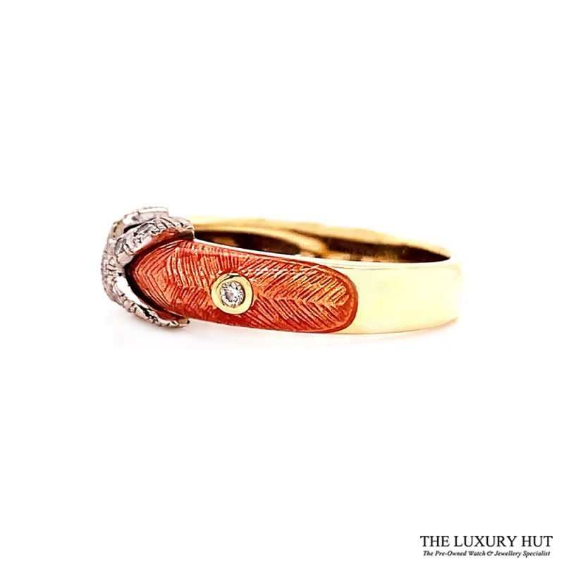 Faberge 18ct Gold 0.12ct Diamond & Enamel Ring - Order Online Today