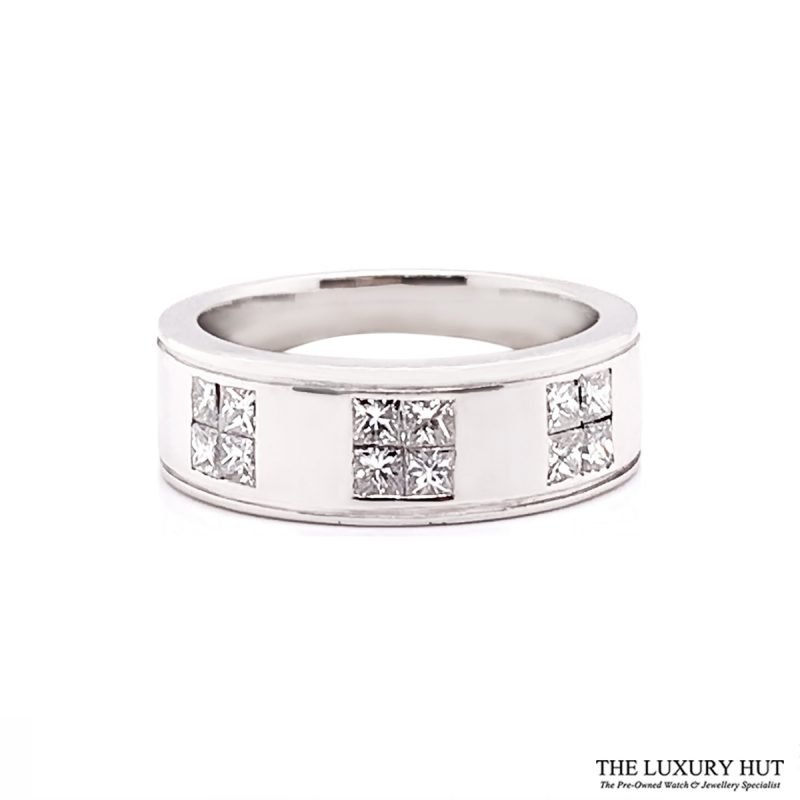 Platinum 1.20ct Princess Cut Diamond Band Ring Order Online Today For Next Day Delivery
