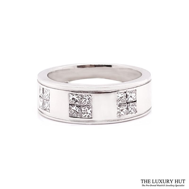 Platinum 1.20ct Princess Cut Diamond Band Ring Order Online Today For Next Day