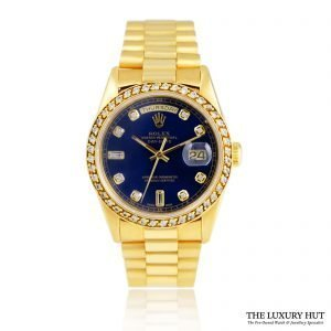 Rolex 18ct Gold President Day-Date White Diamond Dial Watch -Order Online Today For Next Day Delivery