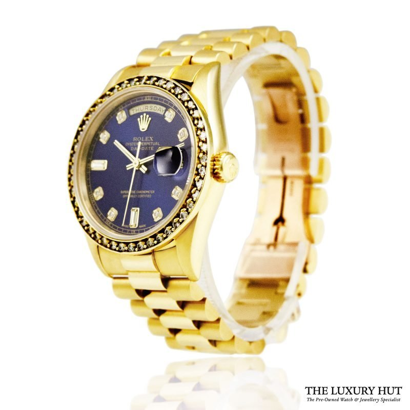 Rolex 18ct Gold President Day-Date White Diamond Dial Watch -Order Online Today For Next Day