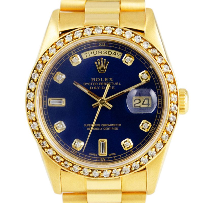 Rolex 18ct Gold President Day-Date White Diamond Dial Watch -Order Online Today Delivery