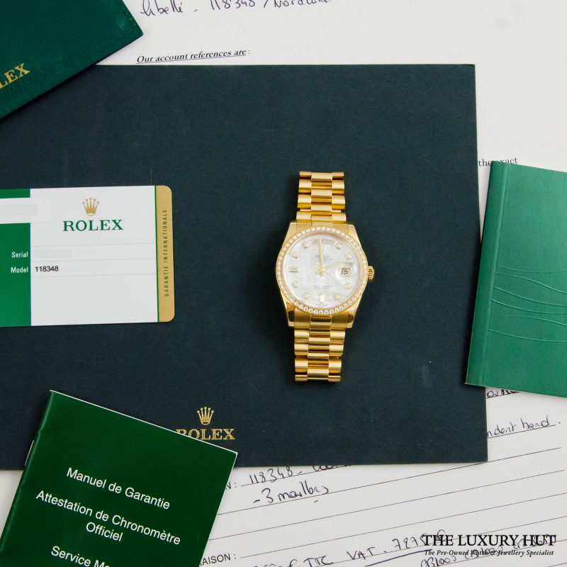 Buy Rolex 18ct Gold Day-Date Diamond Dial Ref: 118348. Order online today