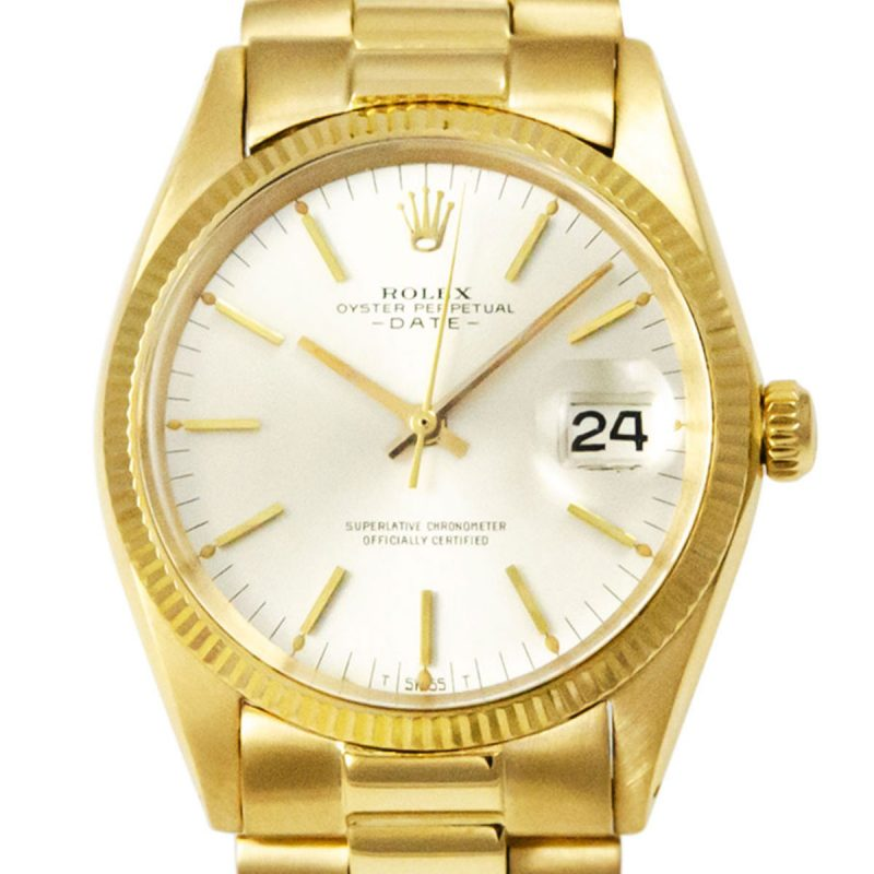 Rolex 18ct Gold Date Silver Dial Watch - Order online today delivery.