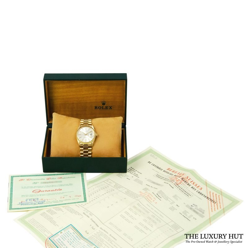 Rolex 18ct Gold Date Silver Dial Watch - Order online delivery.