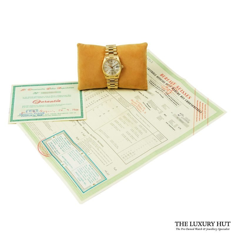 Rolex 18ct Gold Date Silver Dial Watch - delivery.
