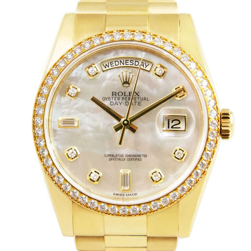 Rolex 18ct Gold Day-Date Diamond Dial Ref: 118348 Order