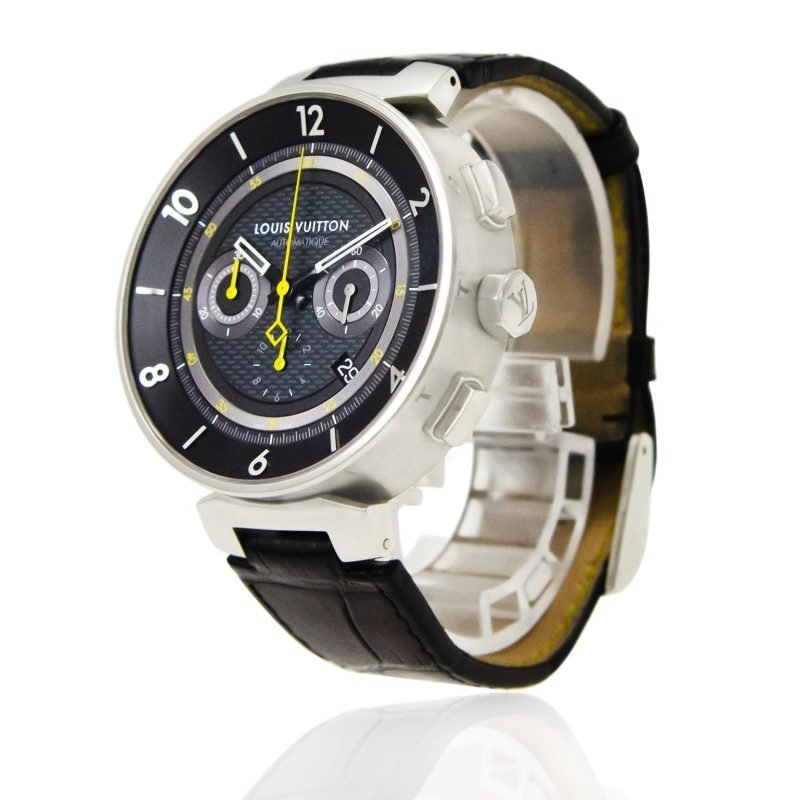 Shop Louis Vuitton Tambour Moon Chronograph Q8D40Z Watch - Order Online Today For Next Day